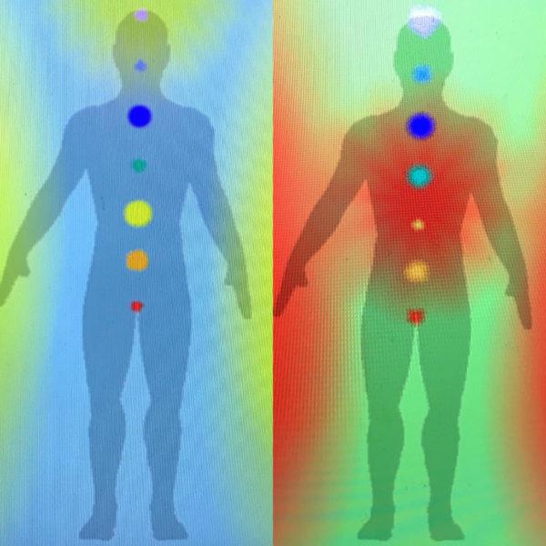 Photo de l'Aura et des Chakras avant et après un soin de luminothérapie Martine Roux luminothérapie-formation.com 3