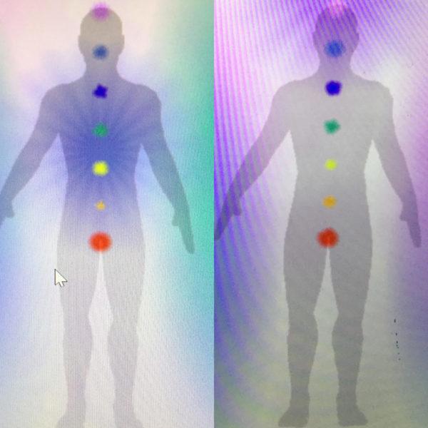 Photo de l'Aura et des Chakras avant et après un soin de luminothérapie Martine Roux luminothérapie-formation.com 2