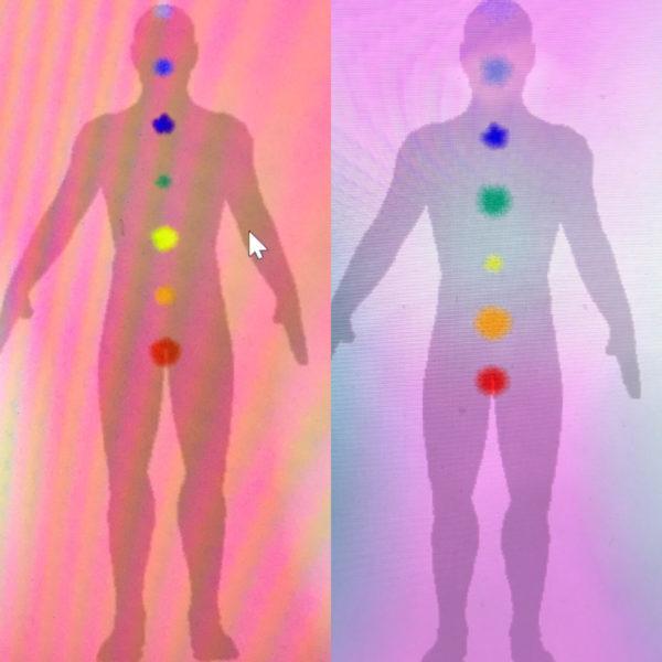 Photo de l'Aura et des Chakras avant et après un soin de luminothérapie Martine Roux luminothérapie-formation.com 1