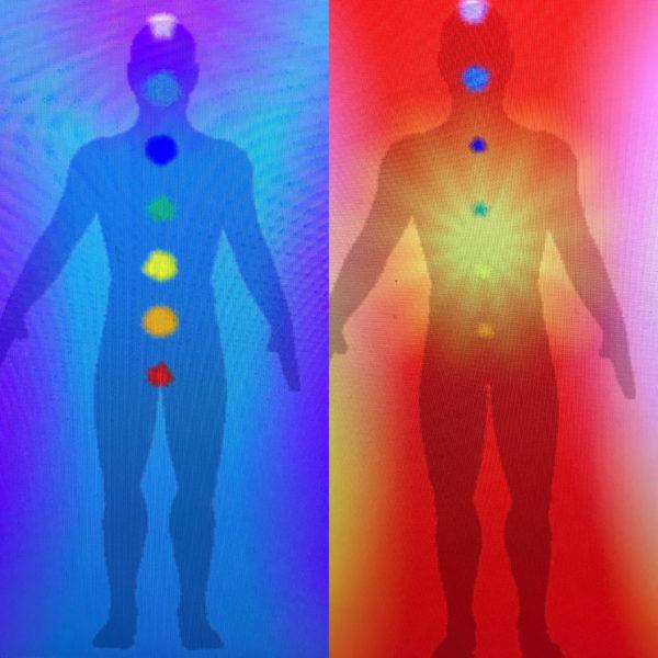 Photo de l'Aura et des Chakras avant et après un soin de luminothérapie Martine Roux luminothérapie-formation.com 4