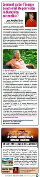 Photo Ecolomag magazine n°80 page31 luminotherapie-formation.com Martine Roux